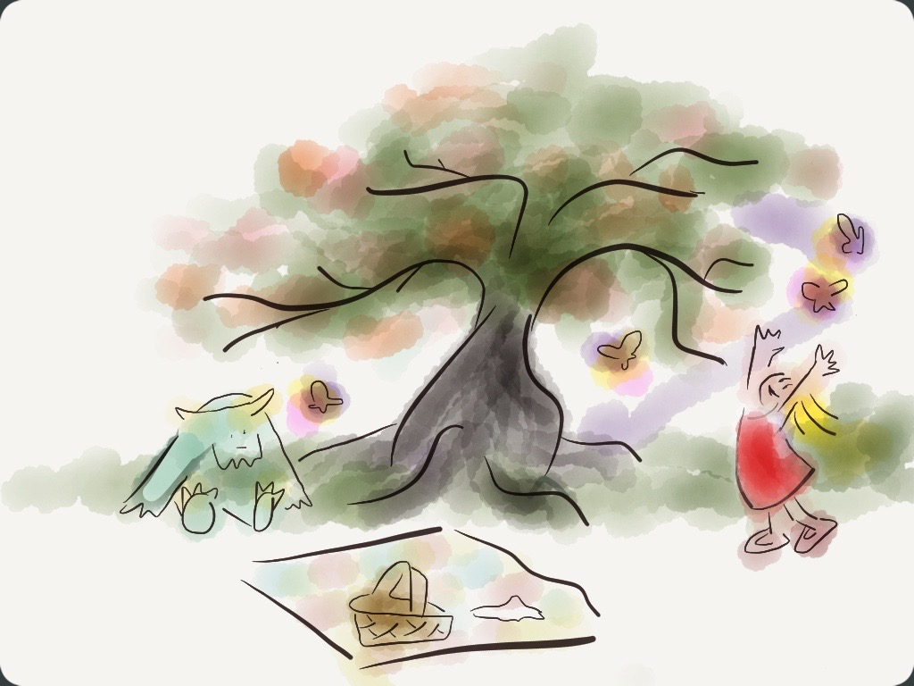 girl having picnic with a blue friendly monster under a tree